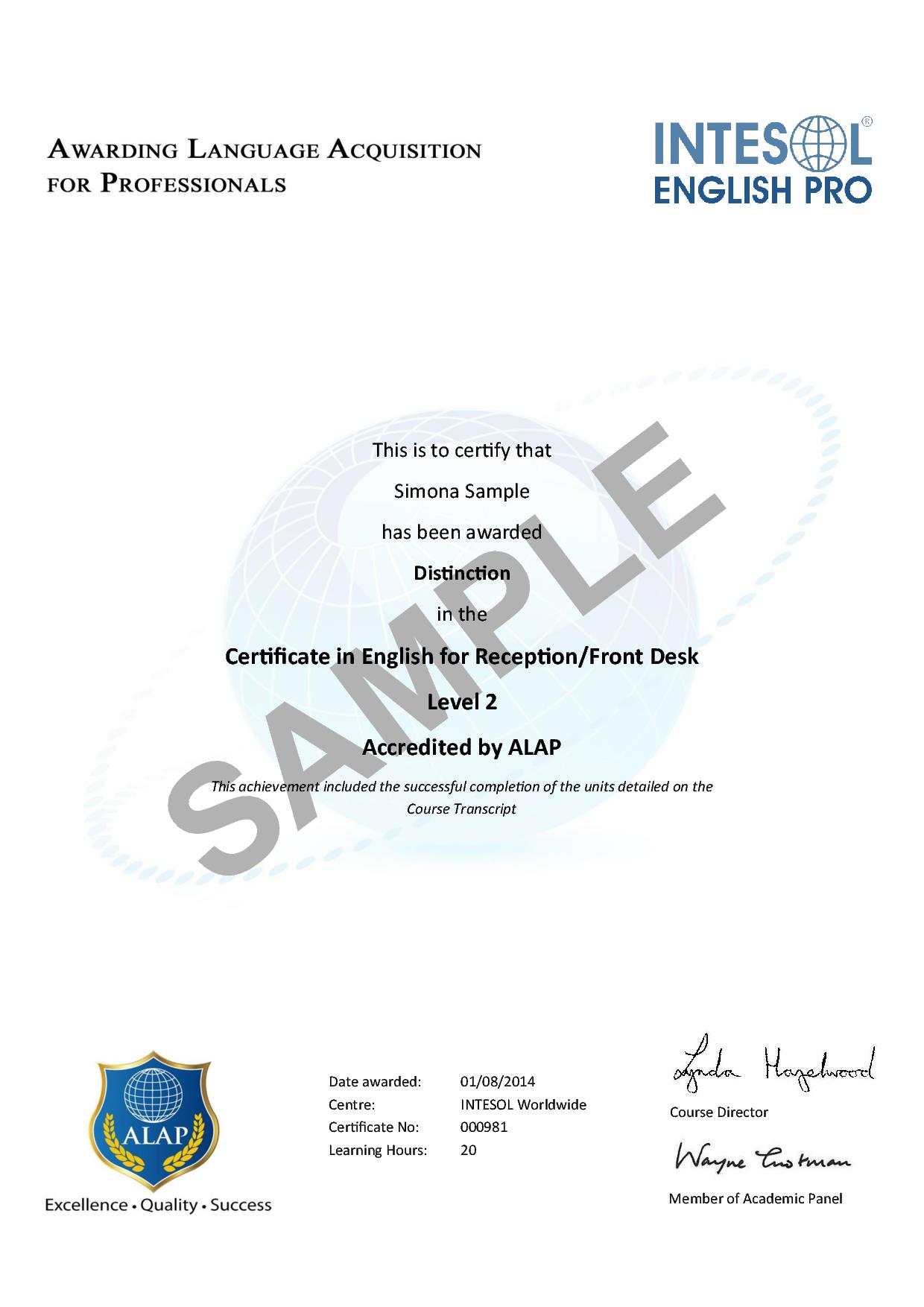 Certificate in english for receptionfront desk uk accredited alapreceptionsamplecert yelopaper Images